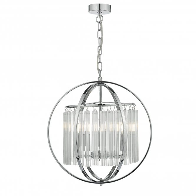 Dar Lighting Abdul Crystal Rod Pendant in Polished Chrome