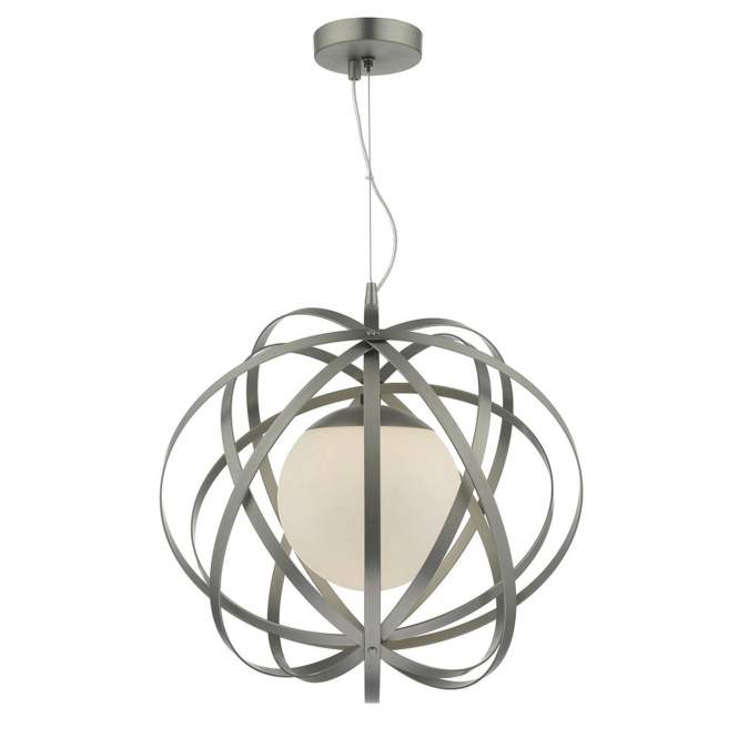 Dar Lighting Abraham Pendant in Satin Chrome and Opal Glass