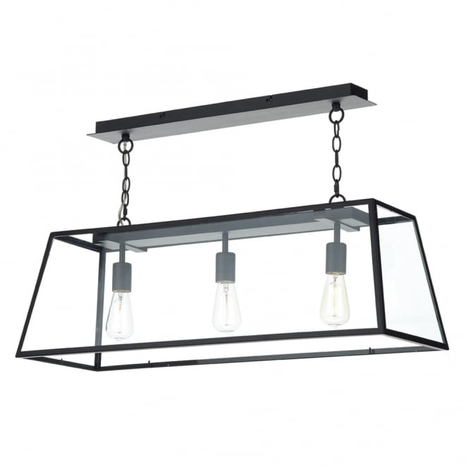 Dar Lighting Academy 3 Light Pendant in Black