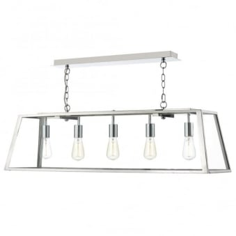 Academy 5 Light Pendant in Stainless Steel