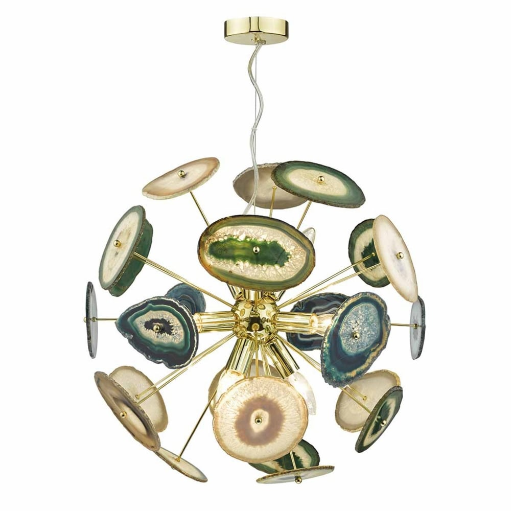bathroom ceiling lighting dar ach1355 achates 9 light pendant in gold and agate 10450