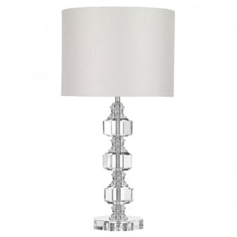 Acton Table Lamp in Crystal Glass and Silver Shade