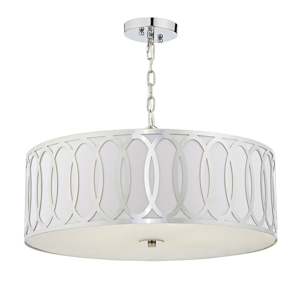 Dar lighting acura five light pendant in white faux silk and acura five light pendant in white faux silk and polished chrome aloadofball Image collections