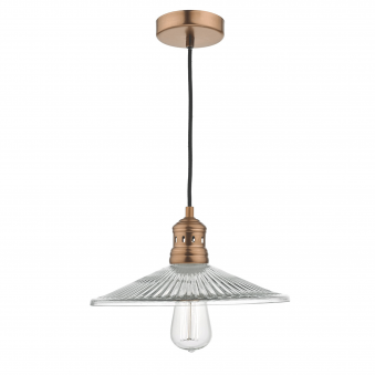 Adelaide Pendant in Brushed Copper and Fluted Glass