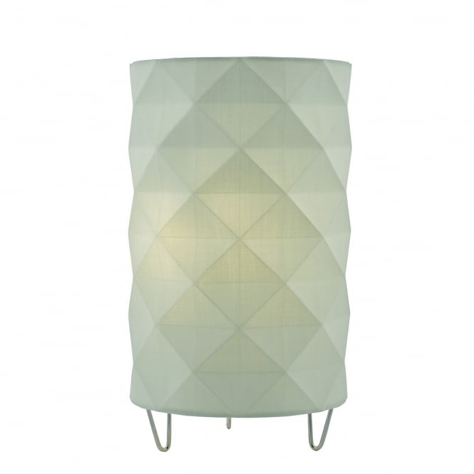 Dar Lighting Aisha Table Lamp with Green Cotton Faceted Shade