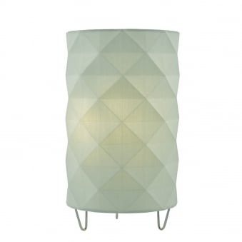 Aisha Table Lamp with Green Cotton Faceted Shade