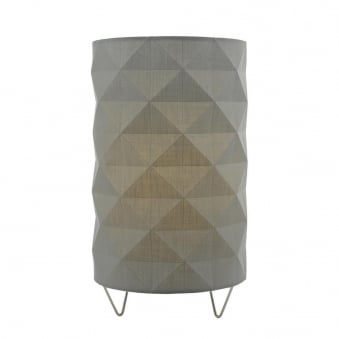Aisha Table Lamp with Grey Cotton Faceted Shade