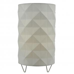 Aisha Table Lamp with White Cotton Faceted Shade