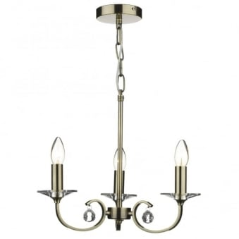 Allegra 3 Light Pendant in Antique Brass