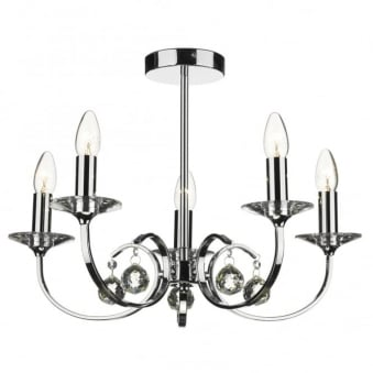 Allegra 5 Light Pendant Chandelier in Polished Chrome