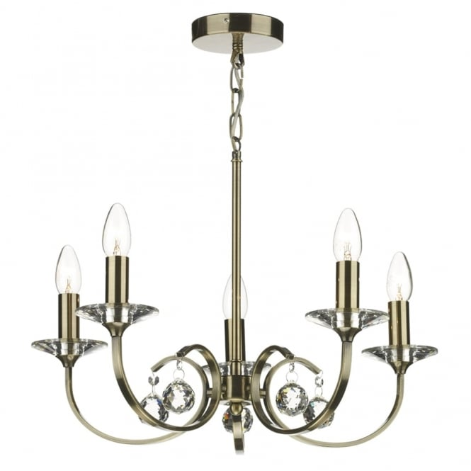 Dar Lighting Allegra 5 Light Pendant in Antique Brass