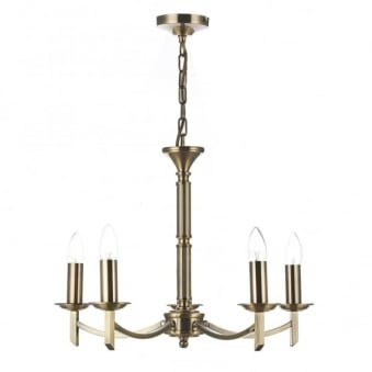 Ambassador 5 Light Chandelier Pendant in Antique Brass