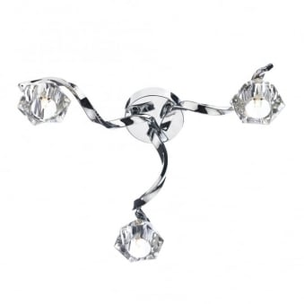 Ancona Three Arm Twisted Chrome and Glass Ceiling Light