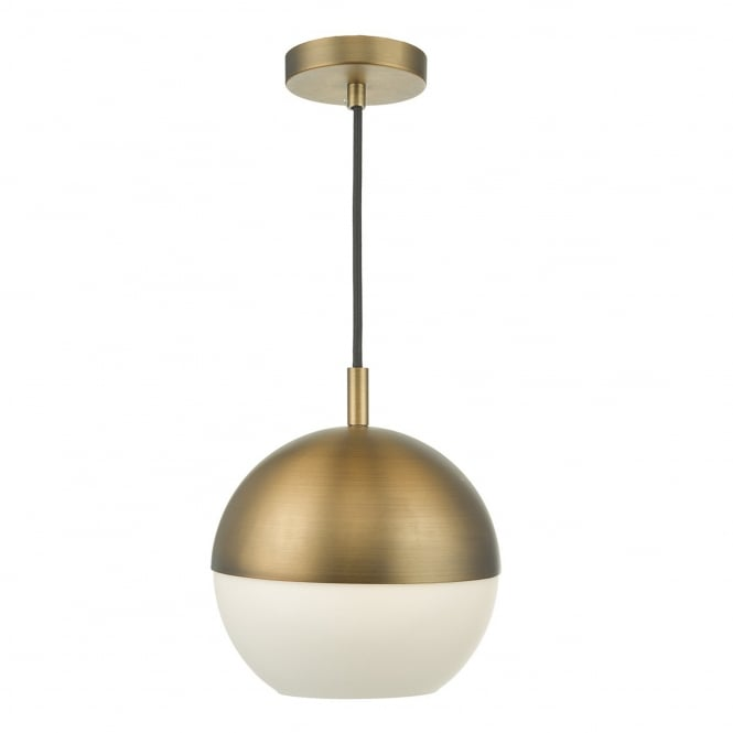 Dar Lighting Andre Aged Brass and Opal Glass Globe Pendant