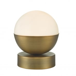 Andre Aged Brass and Opal Glass Touch Control Table Lamp