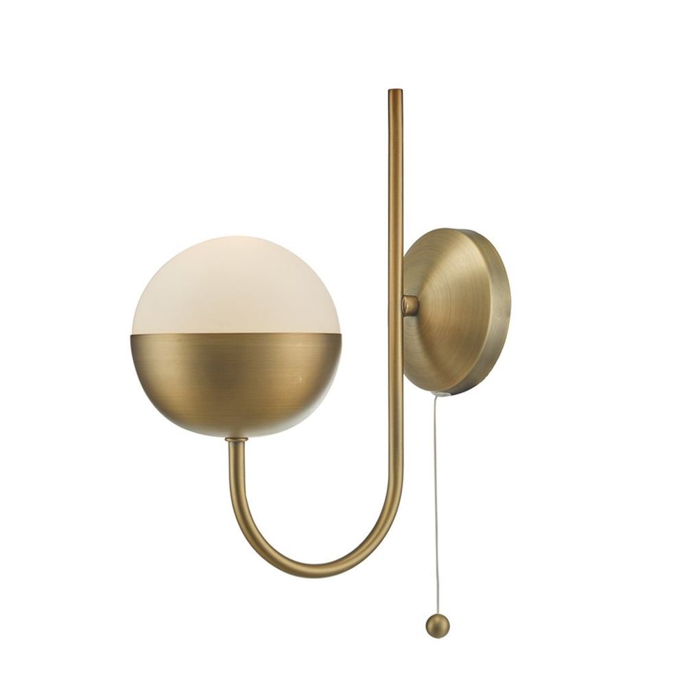 Dar And0742 Andre Aged Brass And Opal Glass Globe Wall Light