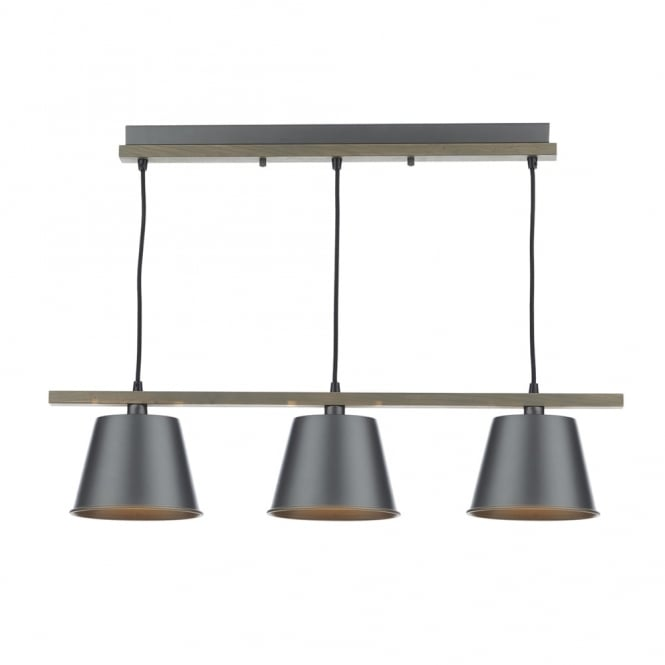 Dar Lighting Arken 3 Light Pendant with Wooden Frame and Grey Shades