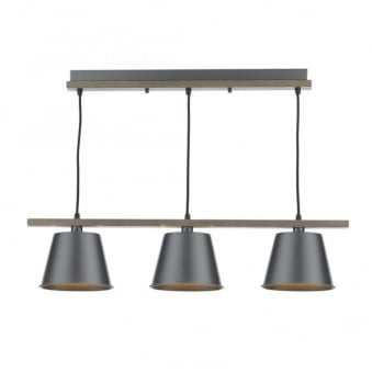 Arken 3 Light Pendant with Wooden Frame and Grey Shades