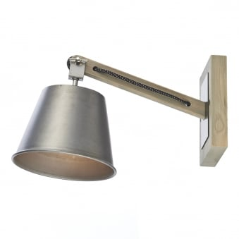 Arken Wall Light with Wooden Backplate, Braided Cable and Grey Shade