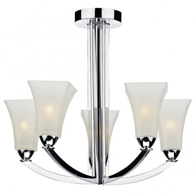 Dar Lighting Arlington Five Light Semi Flush Fitting in Polished Chrome