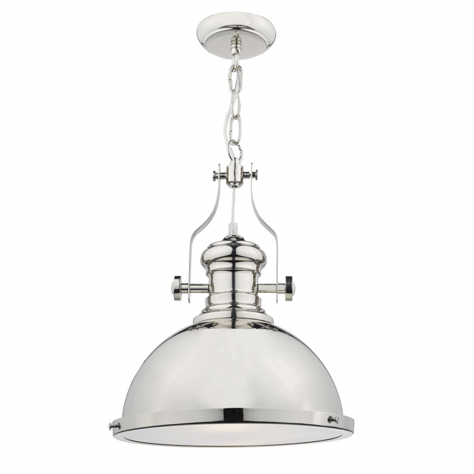 Dar Lighting Arona Vintage Style Pendant in Polished Chrome