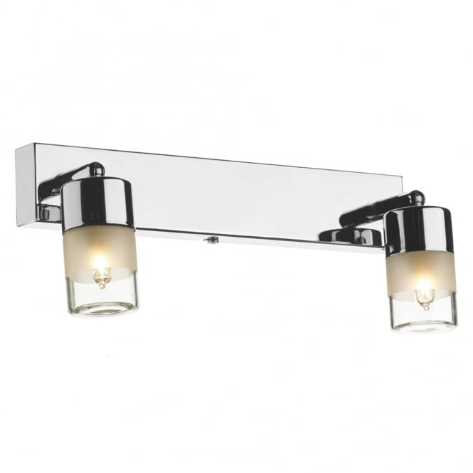 Dar Lighting Artemis IP44 Double Wall Light in Polished Chrome