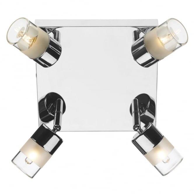 Dar Lighting Artemis IP44 Square Ceiling Fitting in Polished Chrome