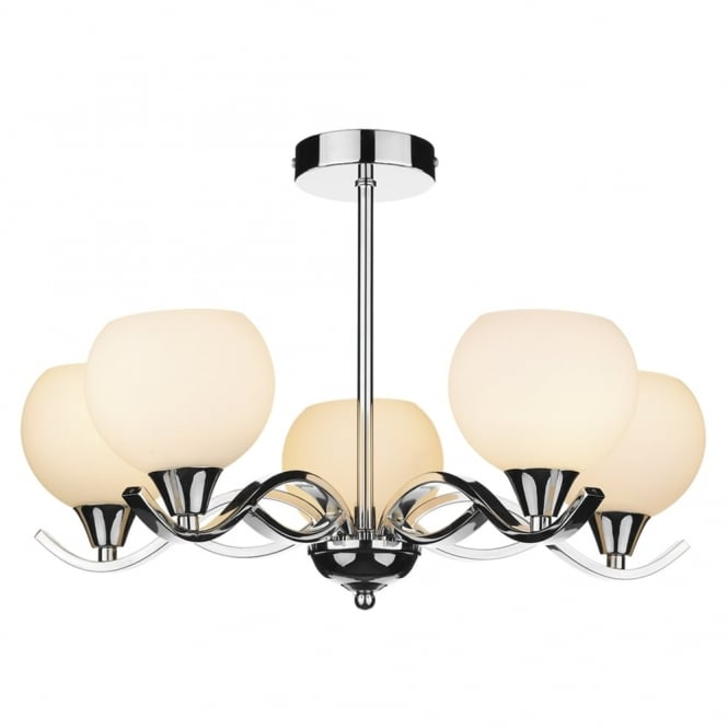 Dar Lighting Aruba Five Light Semi Flush Fitting in Polished Chrome