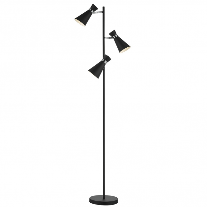 Dar Lighting Ashworth Triple Floor Lamp in Black and Chrome