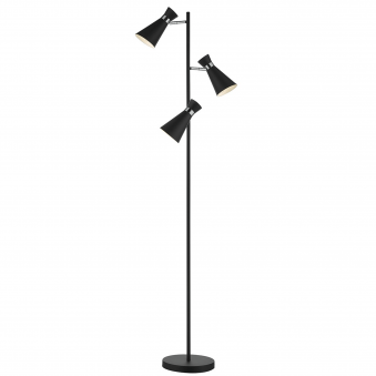 Ashworth Triple Floor Lamp in Black and Chrome