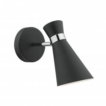 Ashworth Wall Light in Black and Chrome