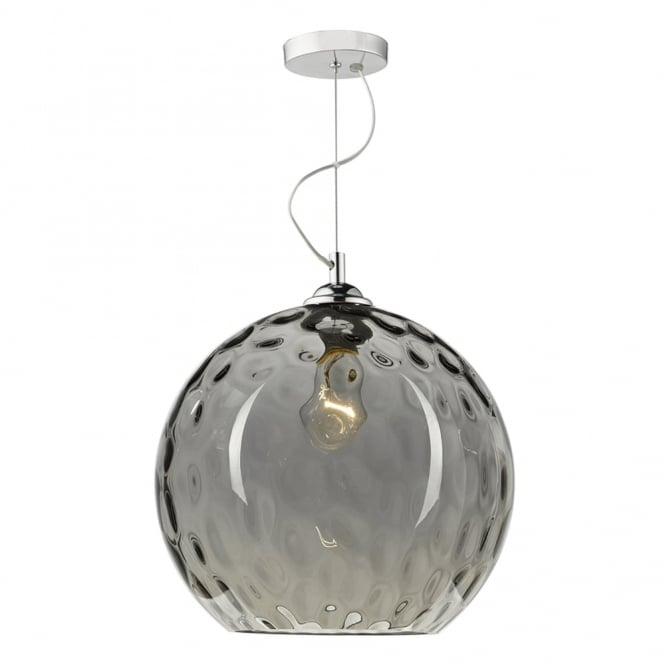 Dar Lighting Aulax Pendant with Silver Smoked Dimpled Glass