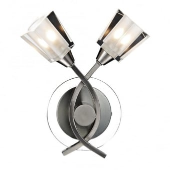 Austin Double Wall Light in Satin Chrome