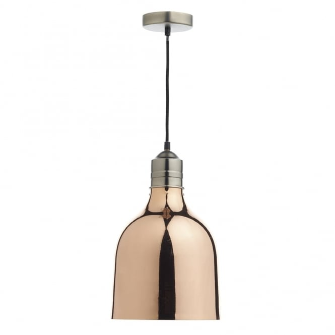 Dar Lighting Bilbao 1lt Copper Pendant