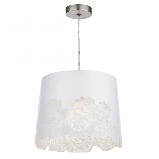 Dar Lighting Bloom Easy Fit Pendant Soft White Rose Cut Shade