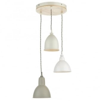 Blyton Triple Drop Pendant in Cream White and Putty