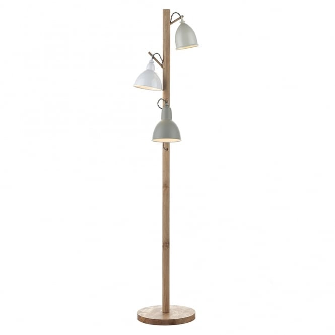 Dar Lighting Blyton Triple Shade Floor Lamp with Lightwood Frame