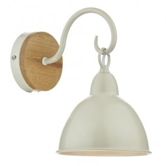 Blyton Wall Light with Cream Shade and Lightwood Backplate