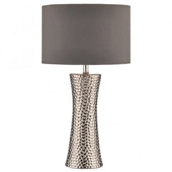 Bokara Table Lamp in Hammered Silver Metal Finish