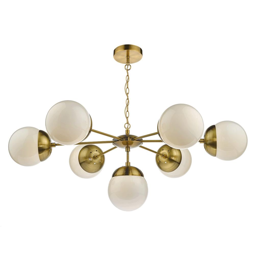 Dar ala0675 alana six light pendant in antique brass bombazine seven light brass globe pendant aloadofball Gallery