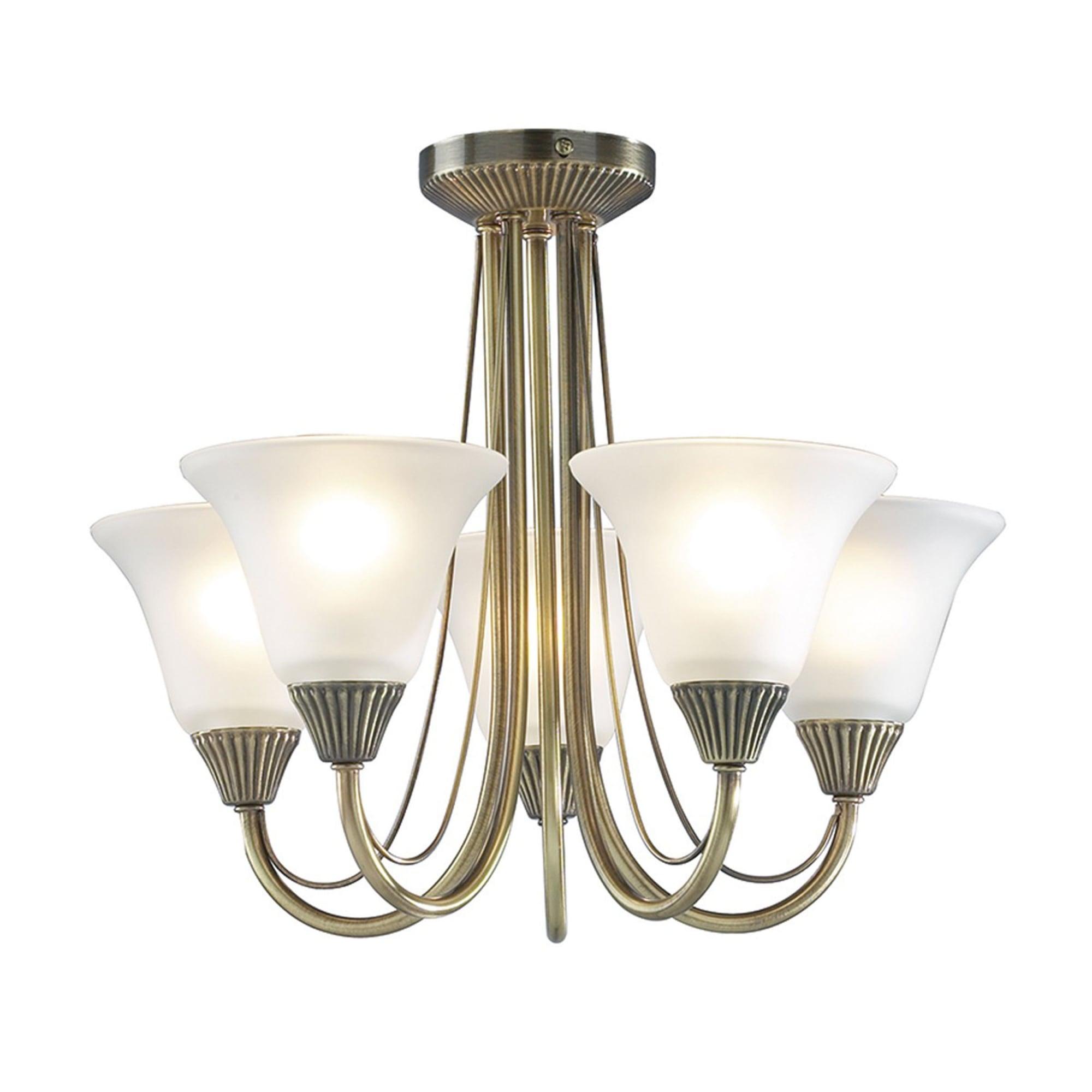 Dar Lighting Bos05 Boston 5lt Semi Flush Ceiling Light Antique Brass