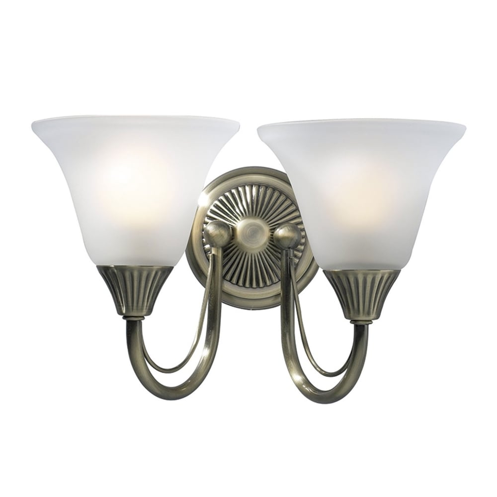 Dar lighting bos09 boston double wall bracket light in antique brass boston double wall bracket light in antique brass aloadofball Images