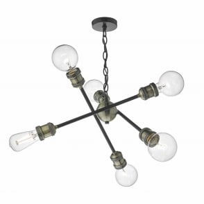 Brigade Six Light Pendant in Black and Antique Brass