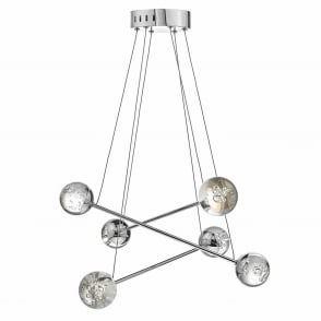Bubbles Six Light LED Pendant in Polished Chrome