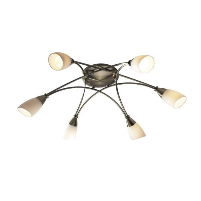Dar Lighting Bureau Six Light Semi Flush Fitting in Antique Brass