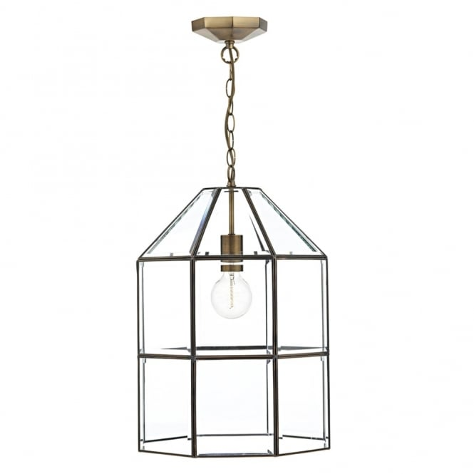 Dar Lighting Cachette Lantern in Clear Glass and Antique Brass