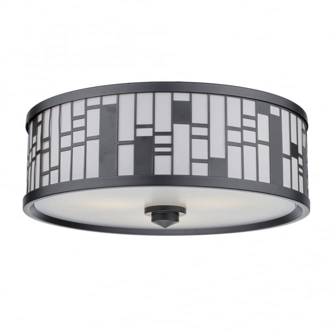 Dar Lighting Ceros Triple Light Flush in Matt Pewter