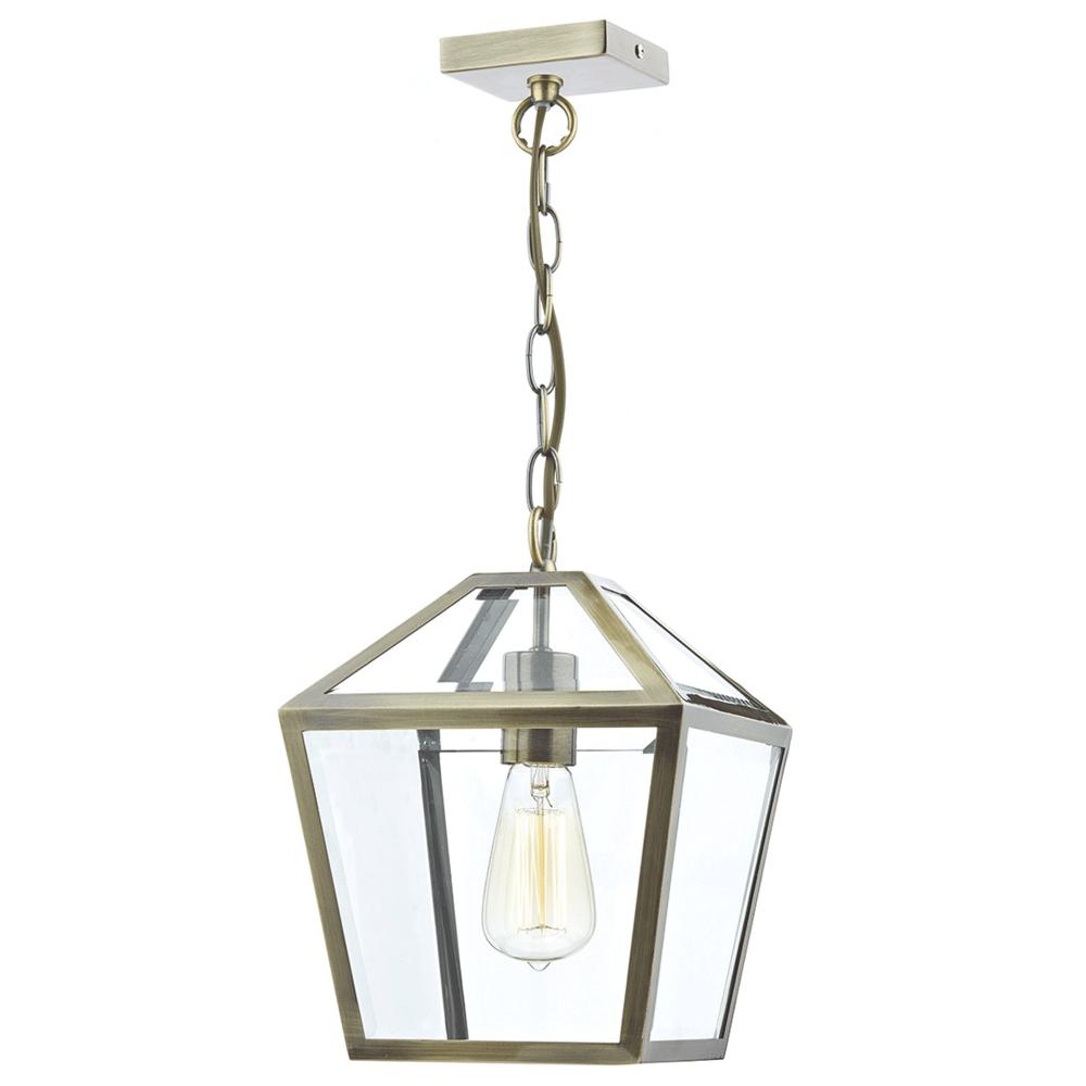 dar lighting churchill clear glass panelled antique brass pendant