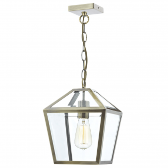 Churchill Clear Glass Panelled Antique Brass Pendant