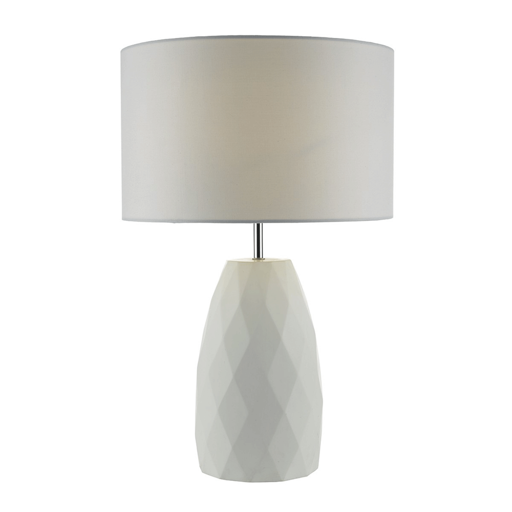 Ordinaire Ciara White Table Lamp With White Linen Shade